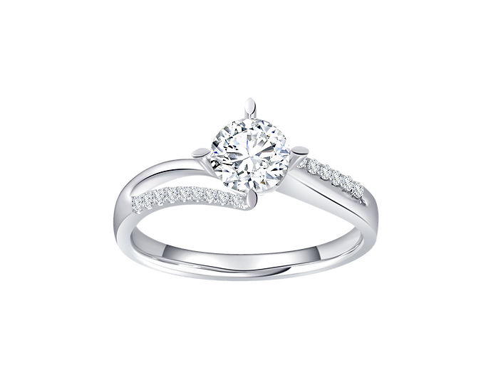 .50 CT Diamond Bypass Engagement Ring with Diamond Accent .072 CT TW