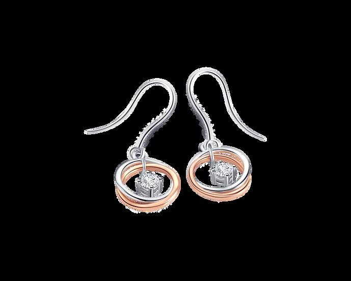 Diamond Two Tone Gold Dangling Earrings