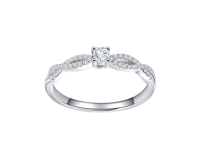 .11 CT Diamond Infinity Engagement Ring with Diamond Accent .11 CT