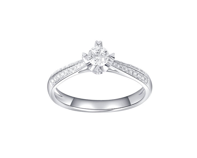 .18 Diamond Cathedral Engagement Ring with Diamond Accent .18 CT TW