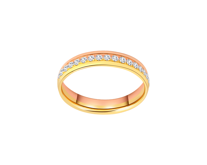 Two-Tone Diamond Embellished Gold Eternity Band - Women