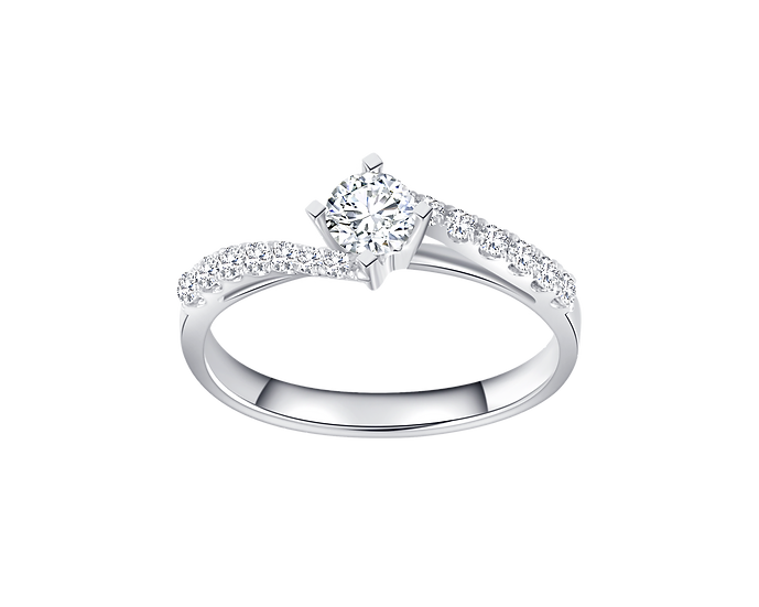 .30 CT Diamond Bypass Engagement Ring with Diamond Accent .195 CT TW