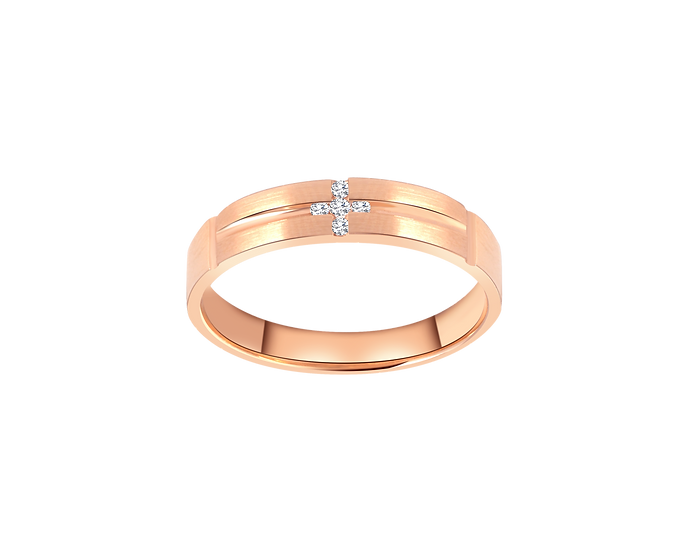Diamond Cross Gold Matte Band with Polished Highlight - Men