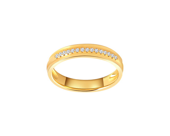 Diamond Accented Gold Band - Women