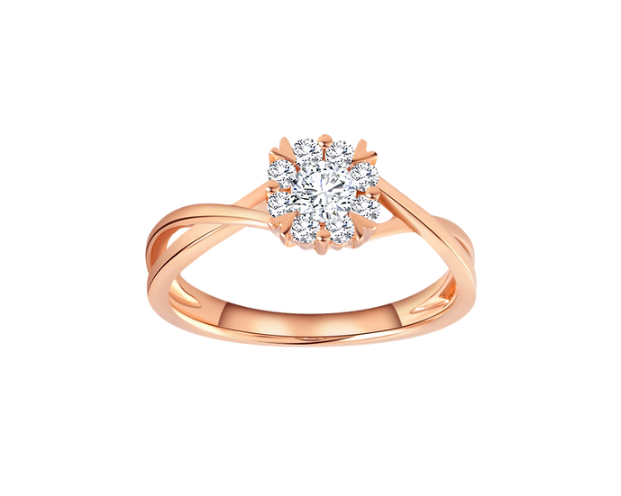 .14 CT Diamond Bypass Engagement Ring with Diamond Accent .15 CT TW