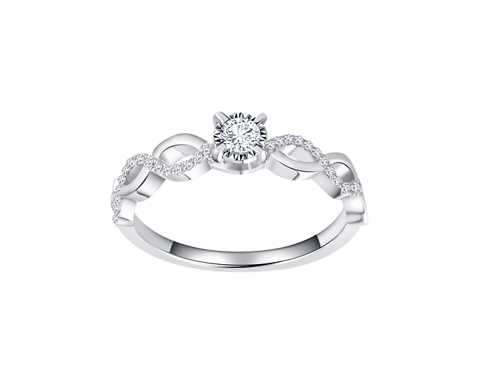 .10 CT Diamond Infinity Engagement Ring with Diamond Accent .096CT