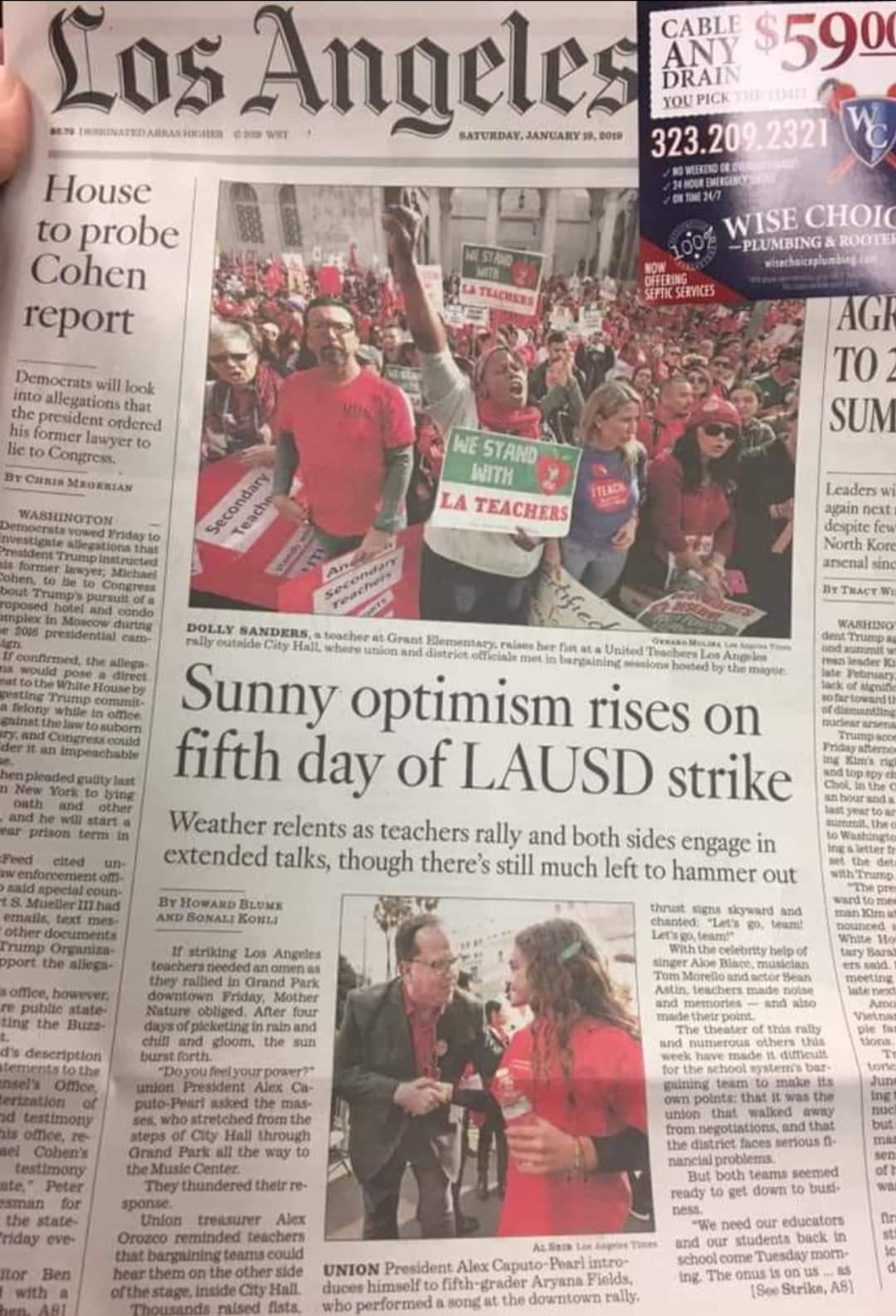 newspaper pic about strike