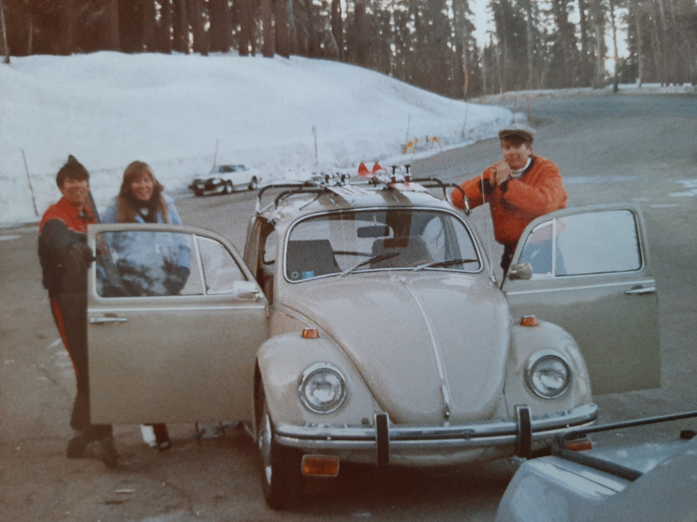 Volkswagon Bug Skiing at Mammoth Mountain.