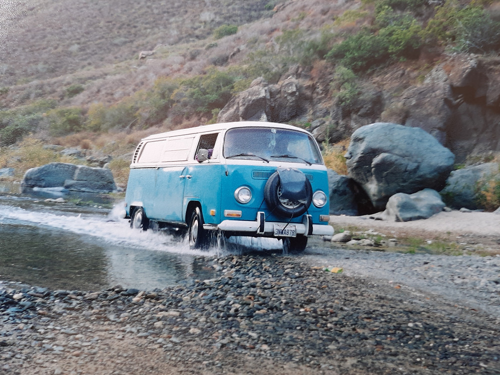 1972 Volkswagon Kombi Water Fording a Mexican Stream.