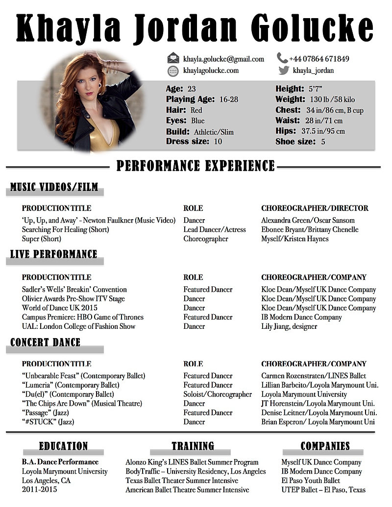 khayla golucke dance writing arts management resume