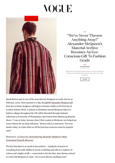 VOGUE Article by Sarah Mower