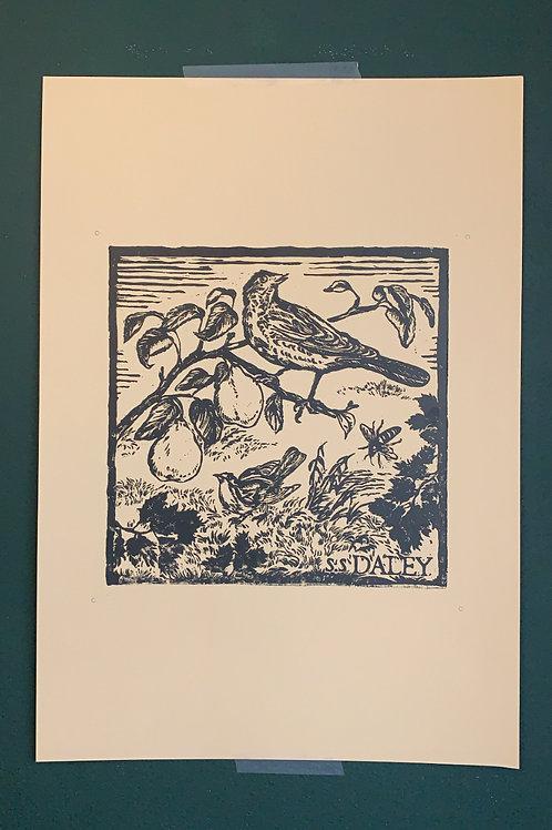 A3 'BECOMING THE GARDEN' Lino Print
