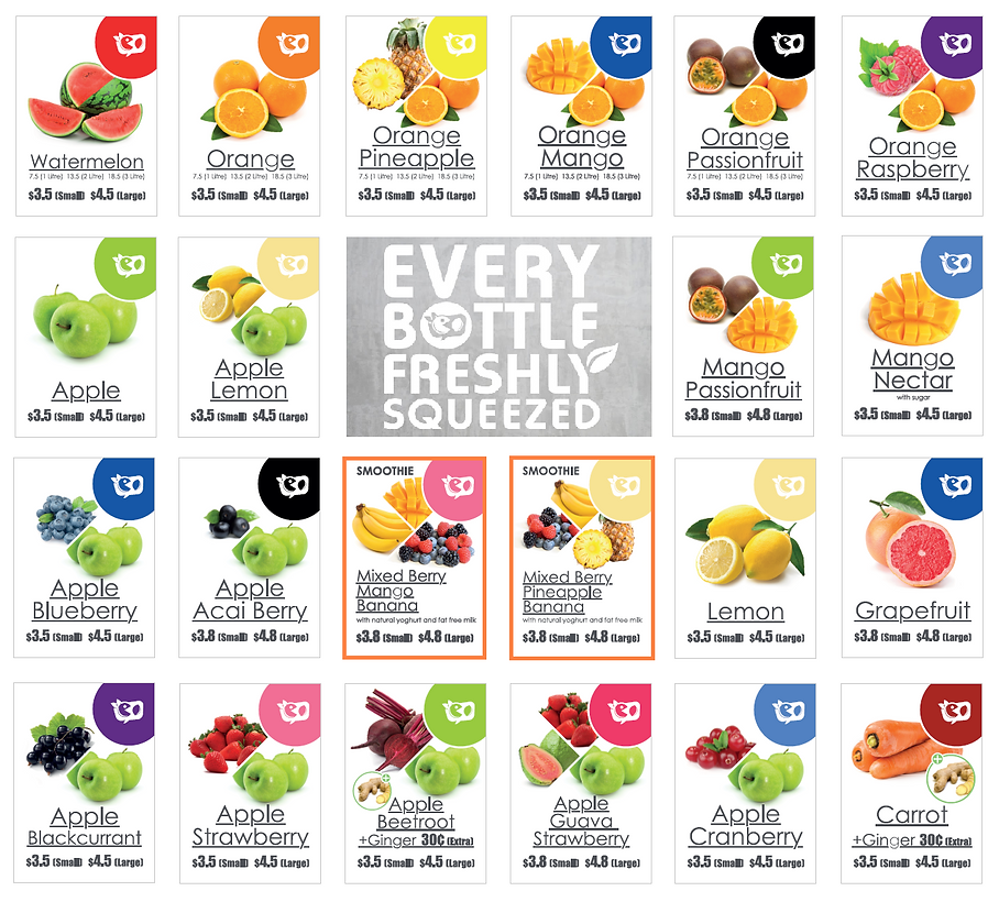 Fruitaholic juice bar bottled juice menu