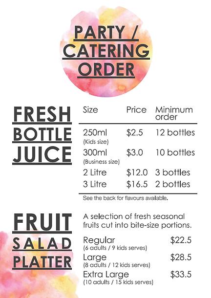 Fruitaholic party catering order menu