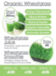 Fruitaholic wheatgrass juice menu