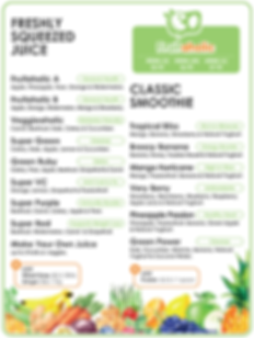 Fruitaholic menu for freshly squeezed juices & classic smoothies