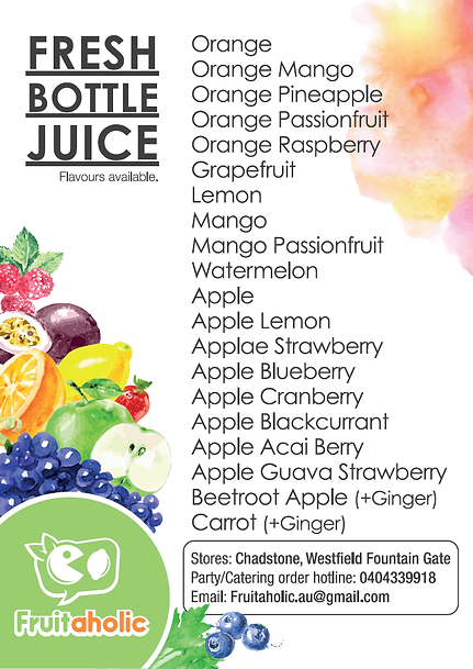Fruitaholic party catering order available flavours