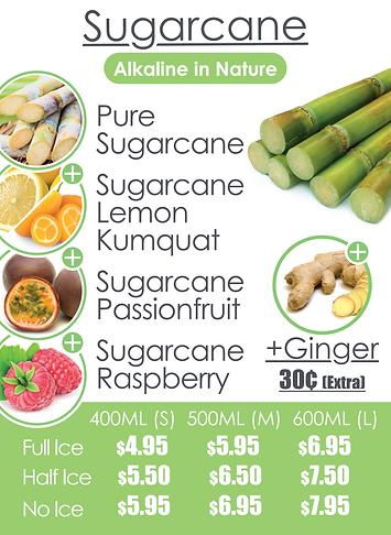 Fruitaholic sugarcane juice menu