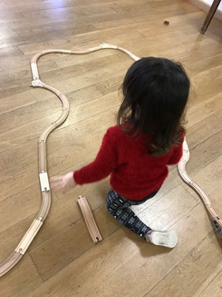 an enormous train track for the Santa express.