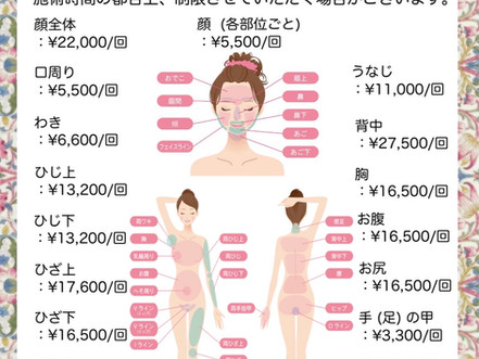 医療脱毛レーザー料金表(女性)