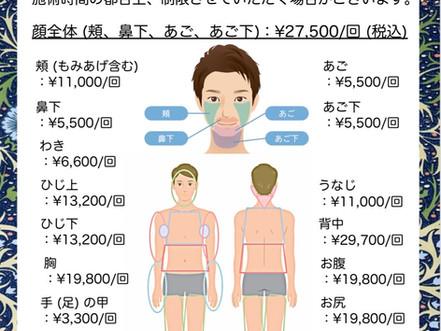 医療レーザー脱毛料金表(男性)