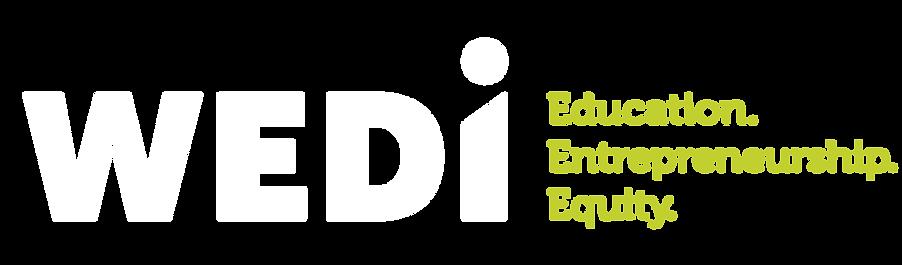 WEDI_Logo_tagline_negative on green_RGB