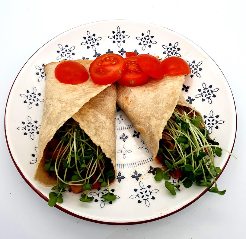 Burrito with Radish Microgreens