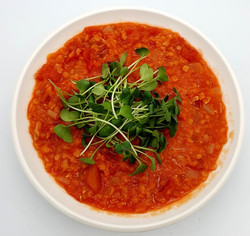 Tomato and Lentil Soup with Radish Micro