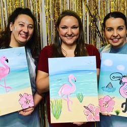adrienne natalie cindy flamingos