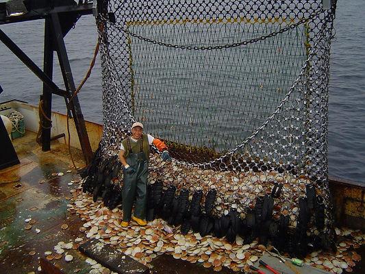 Fisherman at work on East Coast vessel.
