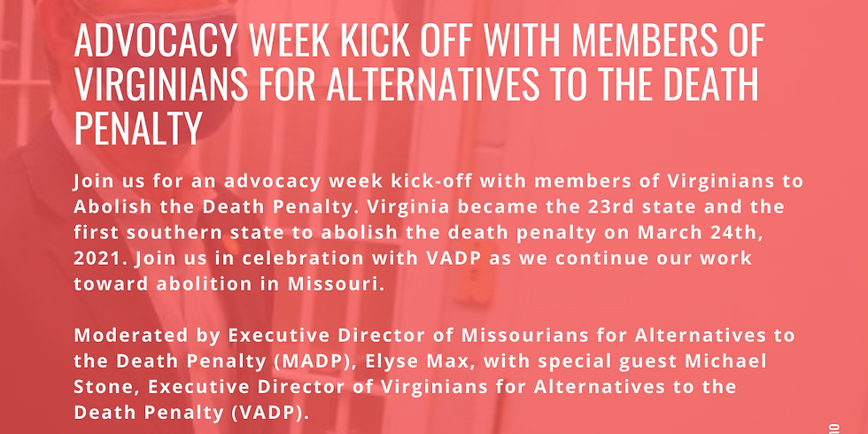 MADP Advocacy Week Kick Off with Members of Virginians for Alternatives to the Death Penalty