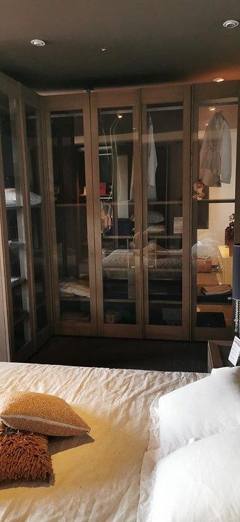 ZN6 Cabina armadio completamente massello ante vetro cornici massello Grattarola