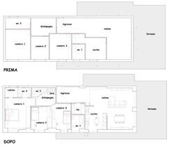 Appartamento di 120 mq all'Eur, pianta prima e dopo i lavori.