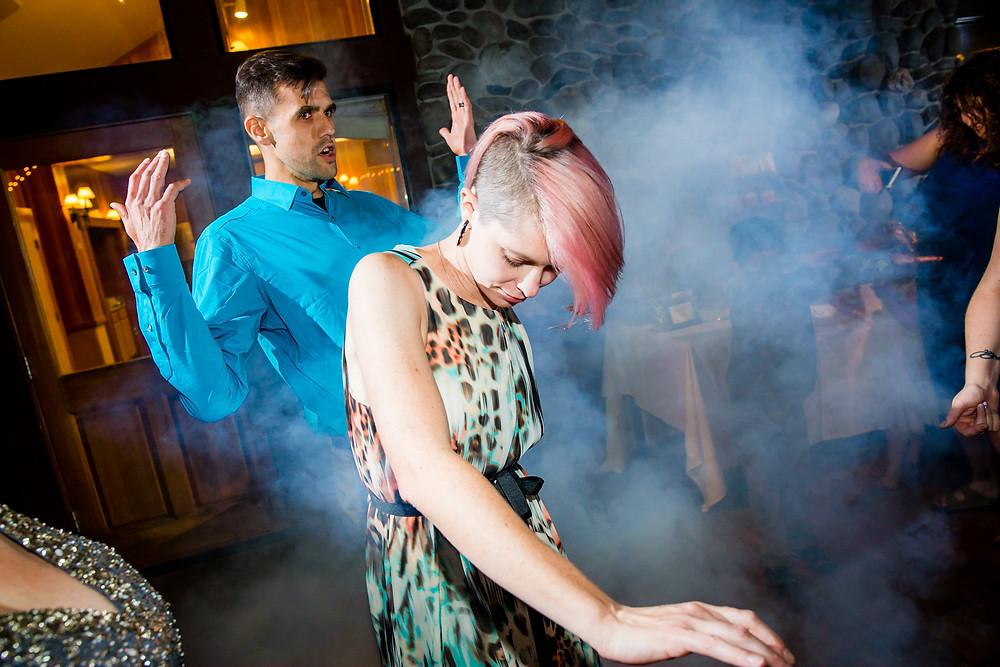 Fog machine at a wedding