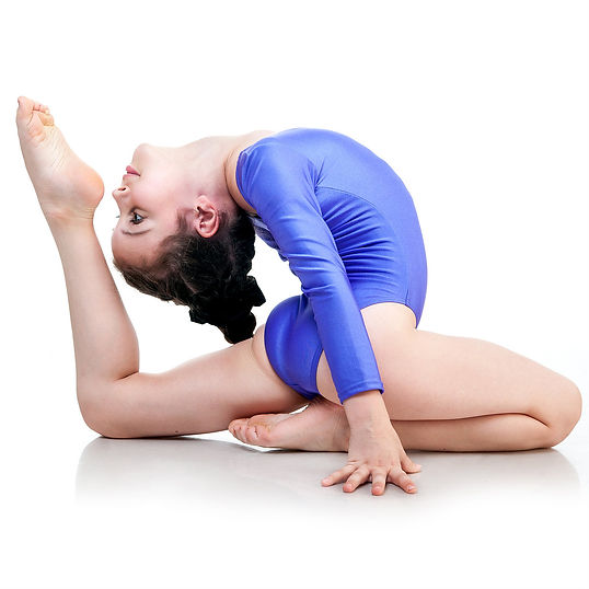 pretty little girl doing gymnastics over