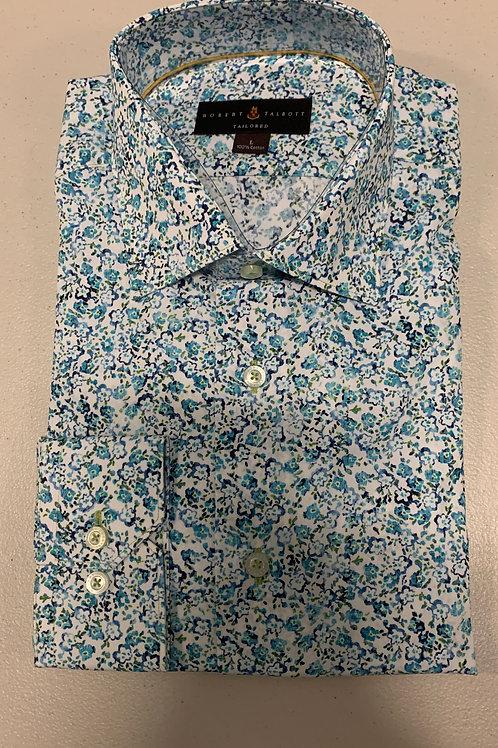 Robert Talbott- Blue Floral Print Sport Shirt