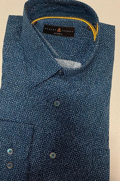 Robert Talbott-Blue Patterned Sport Shirt