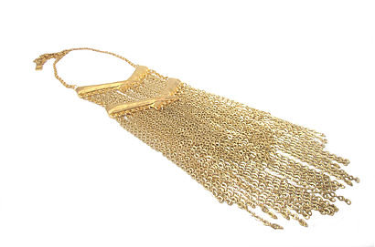 Golden Crossed Tusk Fringe Necklace