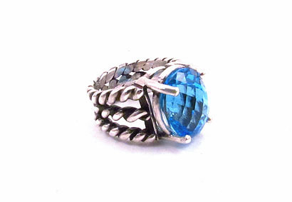 Swiss Blue Topaz Silver Twist Ring