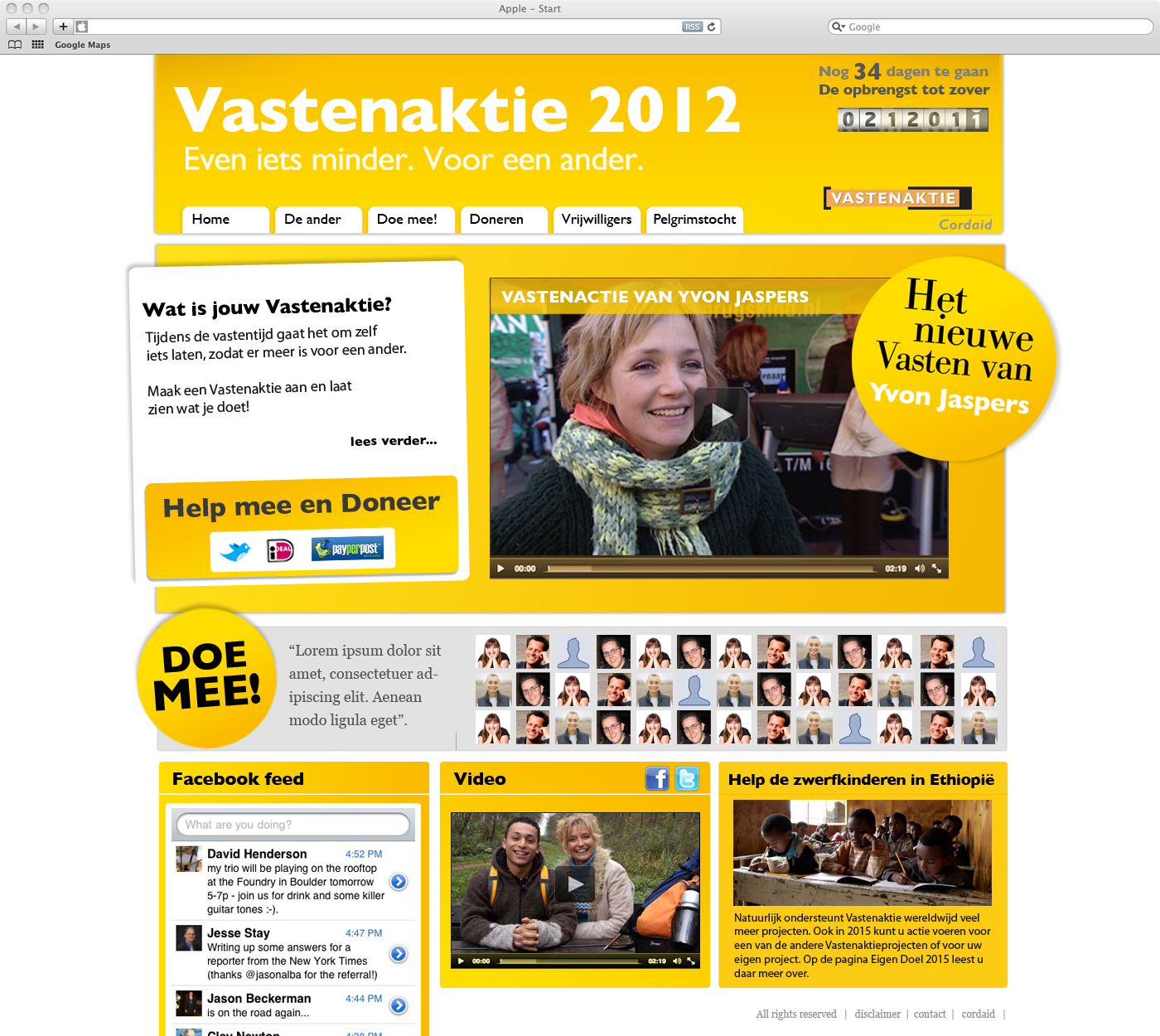 Cordaid Vastenaktie website