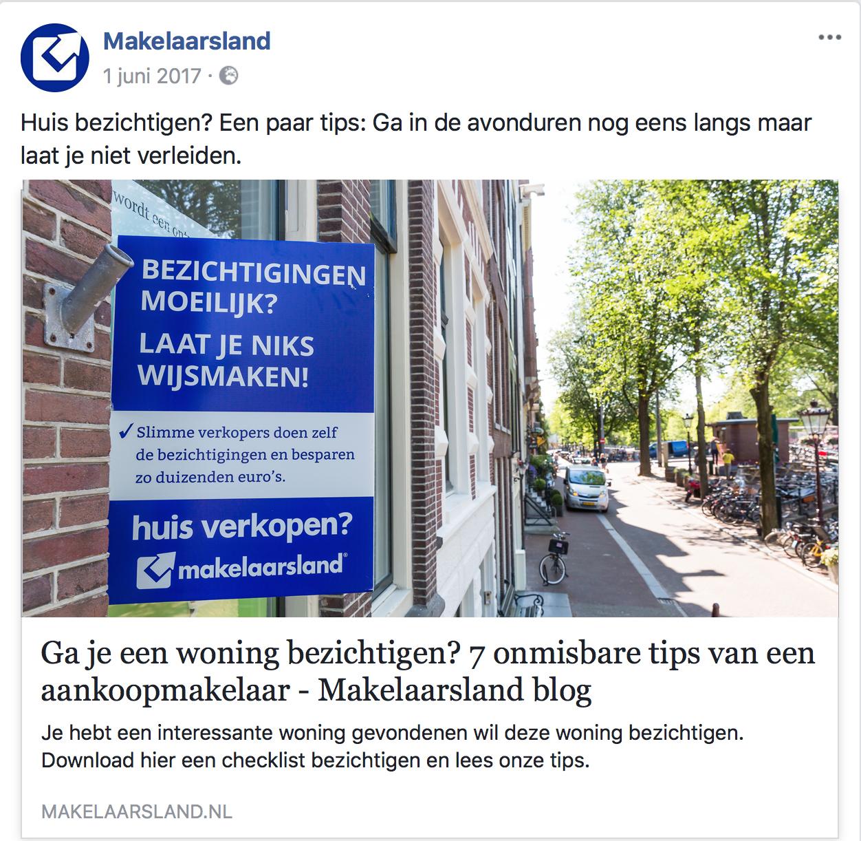 facebook advertising Makelaarsland