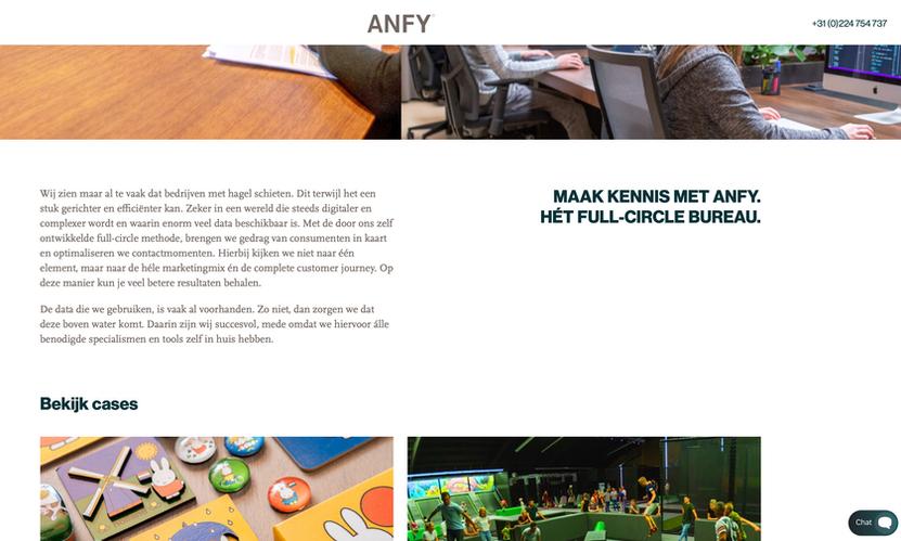 ANFY Websiteteksten & positionering