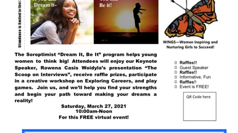 """""""Dream It, Be It"""" Young Women Virtual Event - March 27th"""
