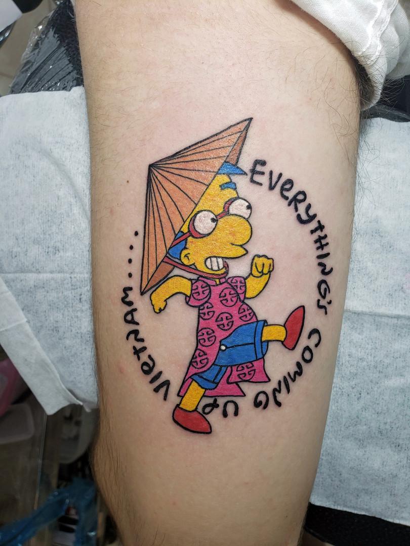 Milhouse Cartoon Tattoo