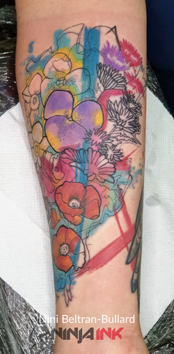 Watercolor Flowers tattoo