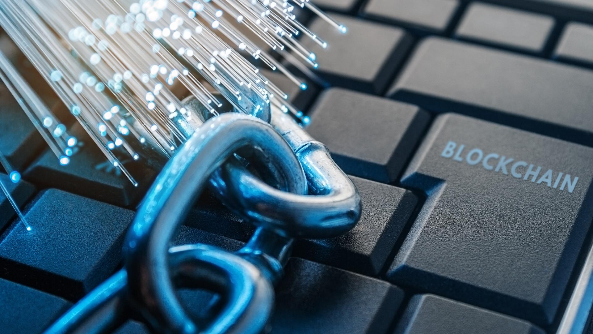 blockchain technology concept. The chain