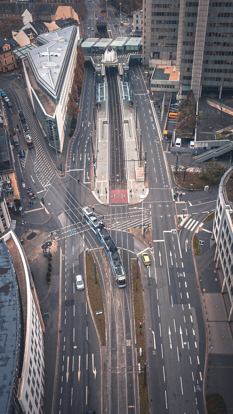 Complicated intersection aerial view