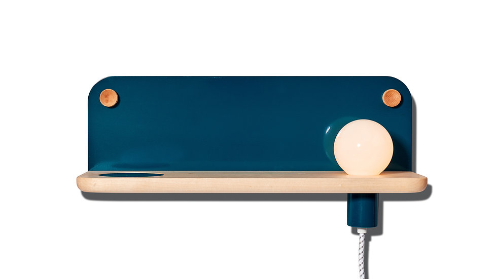 Bedside table, wall shelf, entryway shelf, catch-all, LED light, minimal, minimalist, teal