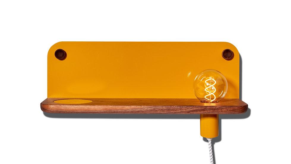 Bedside table, wall shelf, entryway shelf, catch-all, LED light, minimal, minimalist, ochre, gold