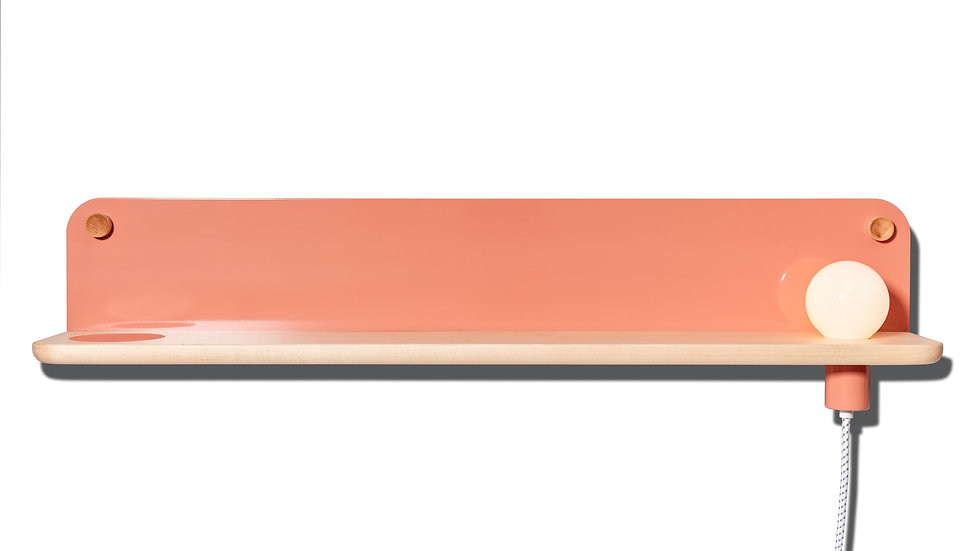 Bedside table, wall shelf, entryway shelf, catch-all, LED light, minimal, minimalist, salmon, pink